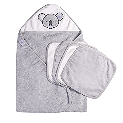 Ramees Baby Hooded Bath Towel with 4 Washcloths, Gift Pack