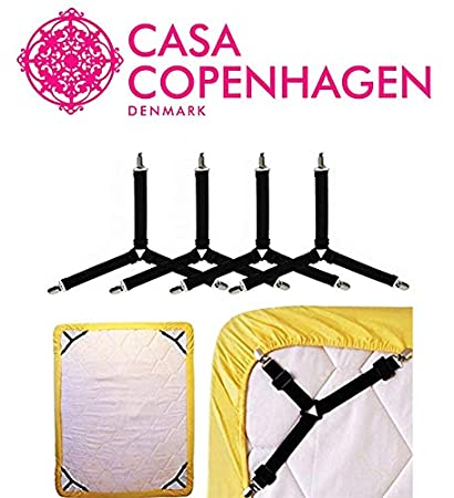 Casa Copenhagen Nylon Adjustable Fasteners Suspenders Gripper, Triangle and Elastic Straps Clips for Various Bedsheets/Sofa / Mattress Covers/Curtains (Black) - 4 Pieces