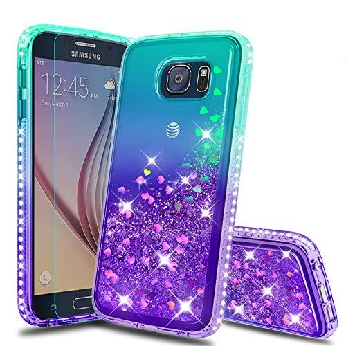 Atump Galaxy S6 Case, Samsung Galaxy S6 Glitter Cases with HD Screen Protector, Fun Glitter Liquid Sparkle Diamond Cute TPU Silicone Protective Phone Cover Case for Samsung Galaxy S6 Green/Purple