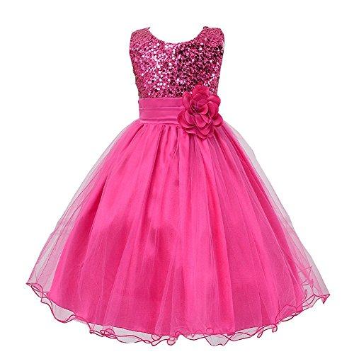Fiying Girls' Sequins Sleeveless Long Dresses Flower Sash Wedding Bridesmaid Formal Hot Pink 4-5 -