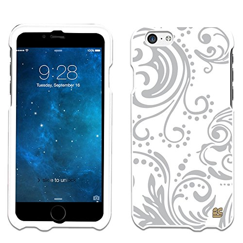 iPhone 6 Case, Spots8® Hard Plastic Slim Fit [Modern Floral in Silver] Case Covers Compatible with iPhone 6 (AT&T/Verizon/Sprint/T-Mobile/Boost Mobile/US Celluar)