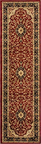 Red Transitional Area Rug - Noble Medallion Red Persian Floral Oriental Formal Traditional Rug 2x7 ( 2'3