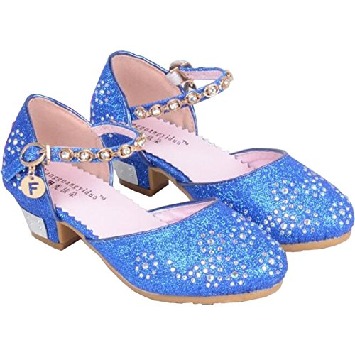 Kid Girls' Sandals Heels Party DressPrincess Shoes Glitter Mary Janes (9 M US Toddler, Blue) by Wangwang