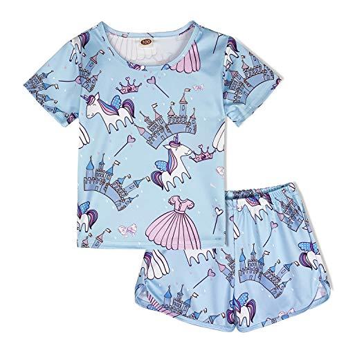 (ModaIOO Girls Unicorn Pajamas Kids 2Piece Short Sleeve Sleepwear Set(8017,Castle,130) )