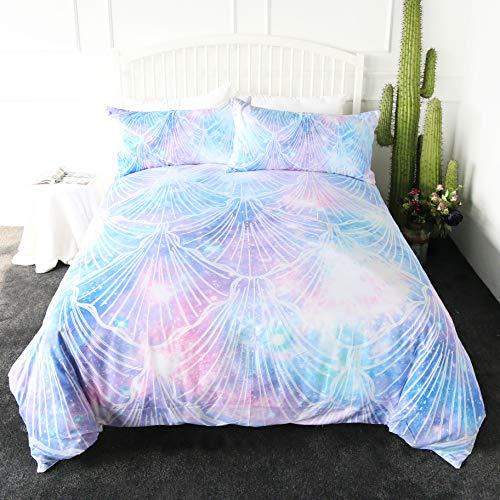 (ARIGHTEX Sea Shell Bedding Purple Aqua Turquoise Sparkle Art 3 Pieces Glitter Sea Life Coastal Duvet Cover Set (Full))