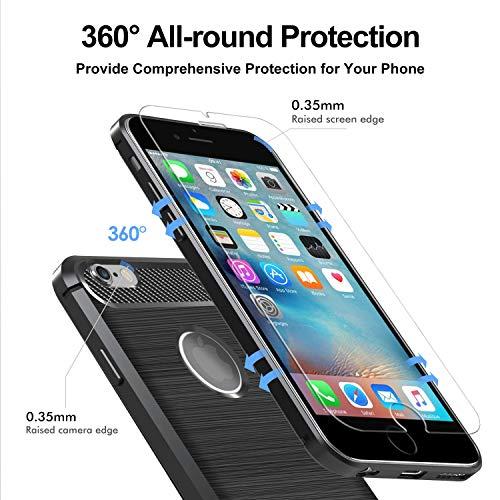 ivoler Coque pour iPhone 6s Plus / 6 Plus + 3X Protecteur D\'écran en Verre Trempé, Fibre de Carbone Silicone Souple TPU Housse Etui Coque de Protection avec Absorption de Choc et Anti-Rayure