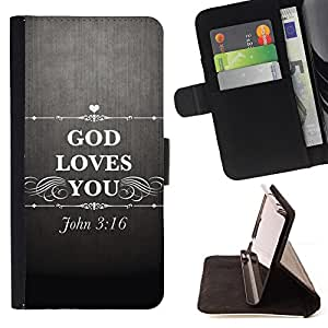 KingStore / Leather Etui en cuir / Samsung Galaxy S4 Mini i9190 / BIBLIA Dios le ama - John 3.16