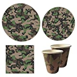 Blue Orchards Camo Party Standard Party Packs (65+ Pieces for 16 Guests!), Camo Party Tableware, Hunting Party Supplies, Boy's Birthday Decorations