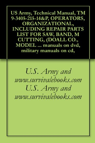 US Army, Technical Manual, TM 9-3405-215-14&P, OPERATORS, ORGANIZATIONAL, INCLUDING REPAIR PARTS LIST FOR SAW, BAND, M CUTTING, (DOALL CO., MODEL 3613-20), ... manuals on dvd, military manuals on cd,