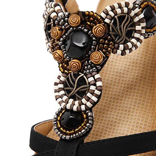 Mujer Sandalias Verano Bohemio Beads Soft Hebilla Cuña Sandalias de BIGTREE Negro