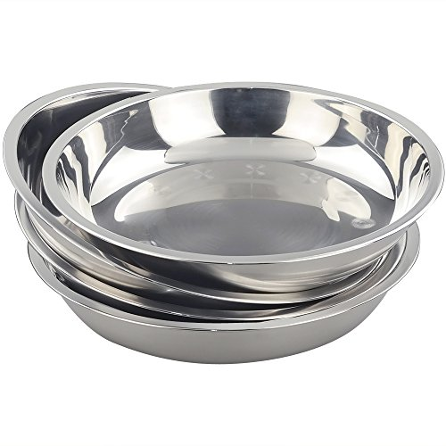 - Morcte Stainless Steel Round Plates Dish Set for Dinner Plate, Outdoor Camping, BBQ, Set of 4