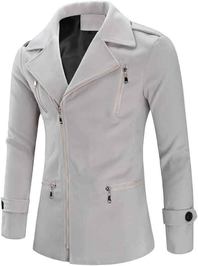 Fashionhe Long Lapel Windbreaker Mens Wool Jacket Warm Winter Trench Outwear Button Overcoat Pocket Coats