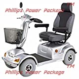 CTM - HS-890 - Full Size Bariatric Heavy Duty Road Class Scooter - 4-Wheel - Silver - PHILLIPS POWER PACKAGE TM - TO $500 VALUE
