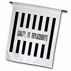 Sandy Mertens Humor Designs - Replacement Refs- Quality vs Replacements - 18 x 27 inch Garden Flag (fl_76707_2)