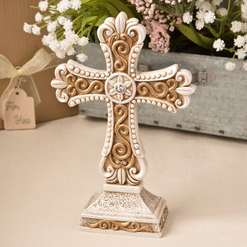 10 Beautiful Antique Ivory Cross Statue with Matte Gold Detailing by Fashioncraft