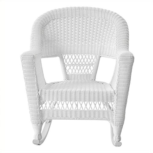 Jeco W00206R-B_2 Set of 2 Wicker Rocker Chairs, White