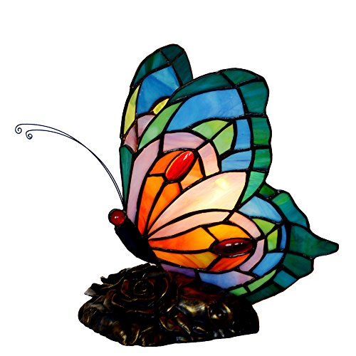 Bieye Tiffany Style Stained Glass Butterfly Accent Night Light with Handmade Shade (Multi-Colored C)