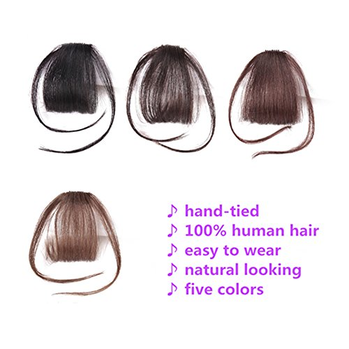 HIKYUU Bangs Hairpiece Clip-in Front Straight Hair Bangs Extensions without Temples Natural Black 100% Real Remy Human Hair Natural Looking by HIKYUU (Image #2)