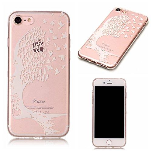 Crisant Weißer baum Drucken Design weich Silikon Ultra dünn TPU Transparent schutzhülle Hülle für Apple iPhone 7 4.7'' (4,7''),Premium Handy Tasche Schutz Case Cover Crystal Bumper Schale für Apple iP