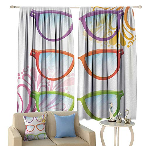 HoBeauty Indie, Window Curtain Fabric, Set of Old Fashioned Glasses in on Abstract Summer Floral Backdrop, Drapes for Living Room,(W63 x L45 Inch, Multicolor