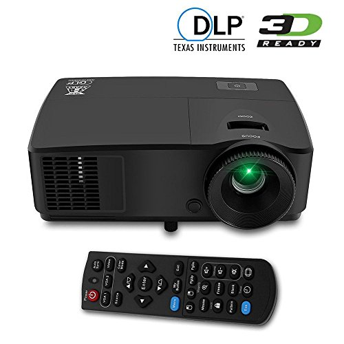 DLP Projector Support 3D 4K Full HD 1080P- for Home Theater Business Office Education School PPT Presentation- with Auto Vertical Keystone Standby Mode- Front Rear Ceiling Projection