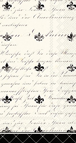Fleur De Lis Napkin - Celebrate the Home French Fleur De Lis 3-Ply Paper Guest/Buffet Napkins, Cream/Black, 20-Count