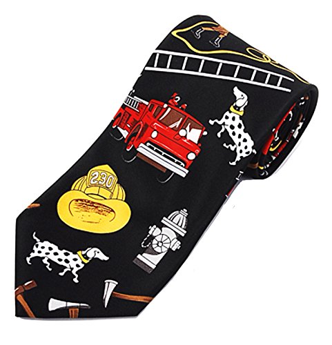 Boxed Tie Fighter - Mens Firefighter Novelty Necktie Holiday Gift for Firemen Black)