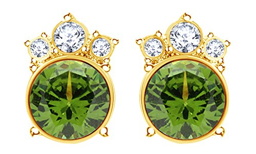 Round Cut Simulated Peridot Crown Stud Earrings In 14K Yellow Gold Over Sterling Silver