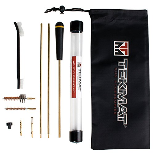 (AR-15 Rifle 8-Piece Gun Cleaning Kit, Compact, Light Weight, Waterproof / Cleaning Kit for AR-15 and M4 rifles, .22 Caliber by TekMat with Brass Components, Utility Brush, and More)