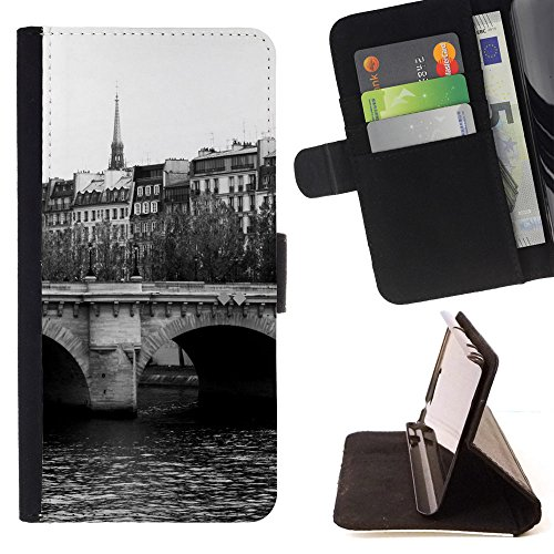 God Garden - FOR Apple Iphone 4 / 4S - Paris Pont Neuf Monochrome - Glitter Teal Purple Sparkling Watercolor Personalized Design Custom Style PU Leather Case Wallet Fli