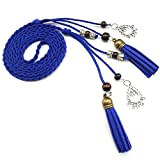 Mainstream vintage braided rope pu waist belts for women roupa feminina Harness for female leather on the body,170cm,Blue