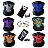 BCOCOB Motorcycle Face Masks 8 Pieces Skull Mask Black Seamless Skull Face Tube Mask, Ghosts Balaclava Half Face for Out Riding Halloween Cosplay Outdoor Cycling Hiking Skiing Camping