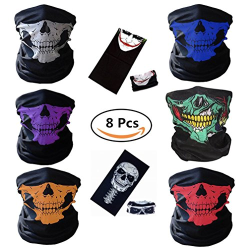 BCOCOB Motorcycle Face Masks 8 Pieces Skull Mask Black Seamless Skull Face Tube Mask, Ghosts Balaclava Half Face for Out Riding Halloween Cosplay Outdoor Cycling Hiking Skiing (Halloween Skull Mask For Kids)