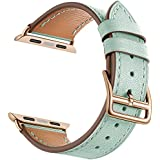 LEUNGLIK 38mm Watch Band for Apple Watch Pink/Green Leather Replacement Bands iWatch Strap Fit for Apple Watch Series 3/Series 2 (2016)/Series 1