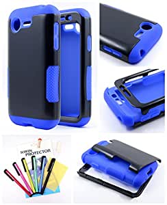 Thousand Eight(TM) For LG Optimus Fuel L34C / Zone 2 - Hybrid Gel Flip Cover Case + [LCD Screen Protector Shield(Ultra Clear)+Touch Screen Stylus] (Infuse Prime Blue)