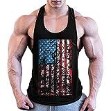 Doad T-Shirt Mens Popular Tank Tops Summer Sport Gym Apparel Flag Print Sleeveless Tees Bodybuilding Jerseys (XL, Black)