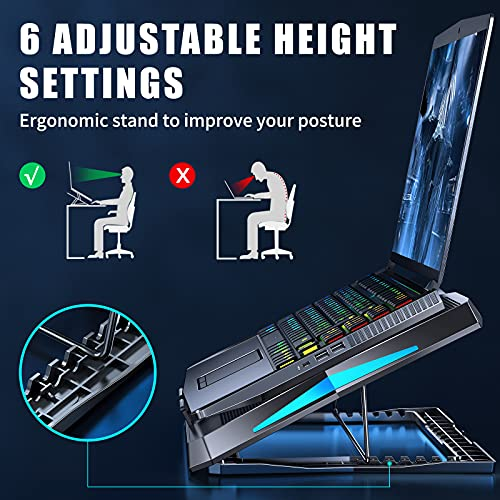 Laptop Cooling Pad AOEVI Laptop Cooler with 6 Quite Fans 6 Heights Adjustable, 2021 Upgrade Laptop Cooling Stand for 12\