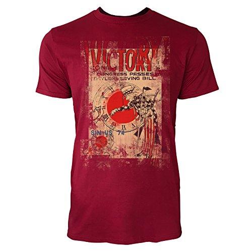 SINUS ART® Victory on Daylight Saving Bill Herren T-Shirts stilvolles dunkelrotes Cooles Fun Shirt mit tollen Aufdruck
