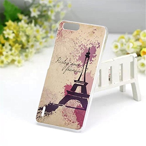 DAYJOY New Amazing Pattern Design Painted Hard PC Protective Bumper Case Cover shell Skin + 1PC tempered glass screen protector film for HUAWEI HONOR6 PLUS 5.5inch (Eiffel Tower)
