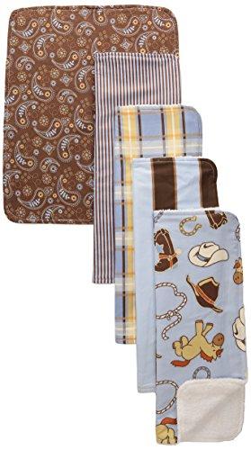 Paisley Burp Cloth Set - Trend Lab 5 Piece Burp Cloth Bundle Box Set, Cowboy Baby
