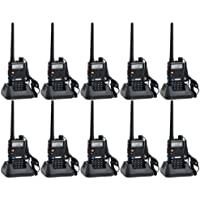 Baofeng UV-5R UHF/VHF 136-174/400-480 MHz Dual-Band CTCSS/DCS FM Transceiver Ham Amateur Radio walkie talkies with Headsets 2 Way Radio Long Range Black 10 Pack