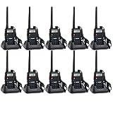 Baofeng UV-5R UHF/VHF 136-174/400-480 MHz Dual-Band CTCSS/DCS FM Transceiver Ham Amateur Radio walkie talkies with Headsets 2 Way Radio Long Range Black 10 Pack