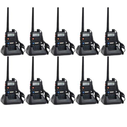 - Baofeng UV-5R UHF/VHF 136-174/400-480 MHz Dual-Band CTCSS/DCS FM Transceiver Ham Amateur Radio walkie talkies with Headsets 2 Way Radio Long Range Black 10 Pack