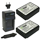 Wasabi Power Battery (2-Pack) and Charger for Canon LP-E10 and Canon EOS 1100D, 1200D, 1300D, Kiss X50, Kiss X70, Rebel T3, Rebel T5, Rebel T6