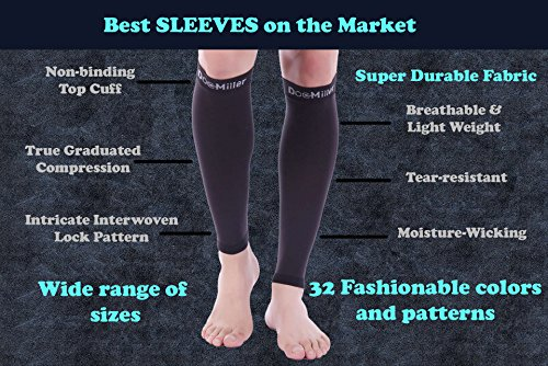 Doc Miller Premium Calf Compression Sleeve 1 Pair 20-30mmHg Strong Calf Support Graduated Pressure for Sports Running Muscle Recovery Shin Splints Varicose Veins Plus Size (Black, 3X-Large) by Doc Miller (Image #8)