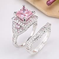 925 Sterling Silver Square Brilliant Cut Pink Sapphire CZ Wedding Ring Set New by khim (8)