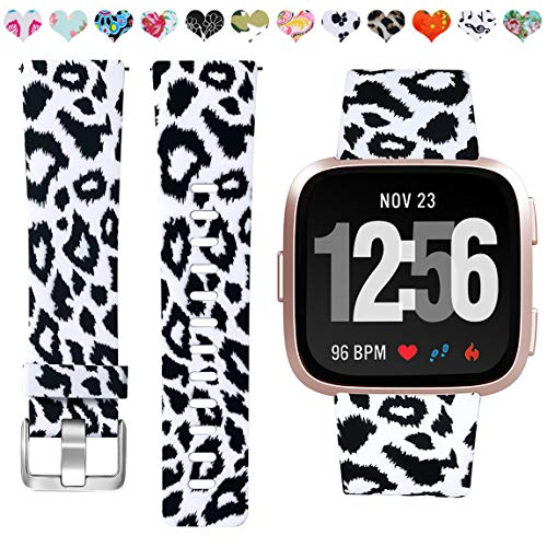 Maledan Replacement Bands Compatible with Fitbit Versa/Versa Lite/SE, Water Resistant Flexible Adjustable Accessories Printed Strap Band Wristbands, Fits for Women Men Girls, Black Leopard, Small