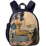 Vintage Mermaid Double Zipper Waterproof Children Schoolbag With Front Pockets For Teens Boy Girls