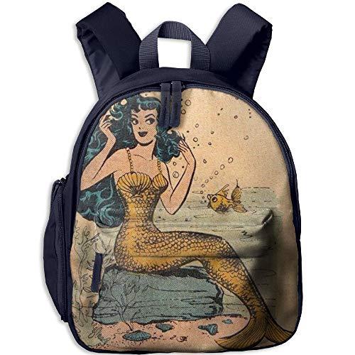 Vintage Mermaid Double Zipper Waterproof Children Schoolbag With Front Pockets For Teens Boy Girls by TPXYJOF