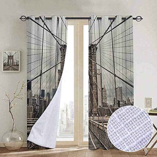 Thermal Cables Beige - NUOMANAN Bedroom Curtains United States,View of Historical Famous Brooklyn Bridge and Cable Pattern NYC Architecture, Beige Brown,Thermal Insulated Room Darkening Window Shade 52